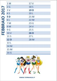 calendario anime manga 2016