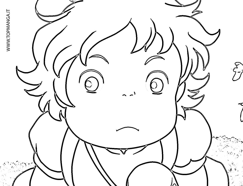 Immagini Da Colorare Di Ponyo Sulla Scogliera Topmanga Anime E