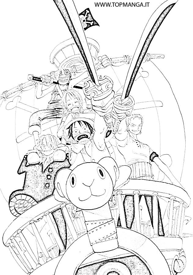 Immagini Da Colorare Di One Piece Allarrembaggio Topmanga